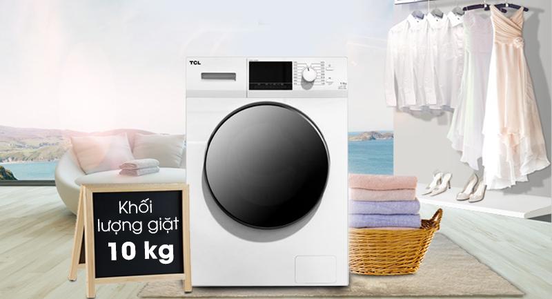 Máy giặt TCL Inverter 10 Kg TWF100-M14303DA03-Khối lượng giặt 10 kg, phù hợp gia đình trên 6 thành viên