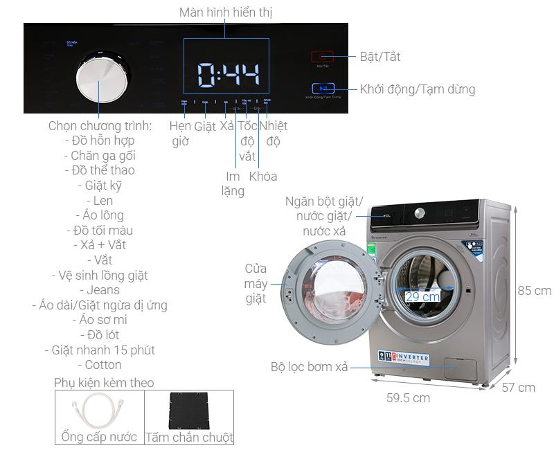 Thông số kỹ thuật Máy giặt TCL Inverter 9 Kg TWF90-K14508DC04