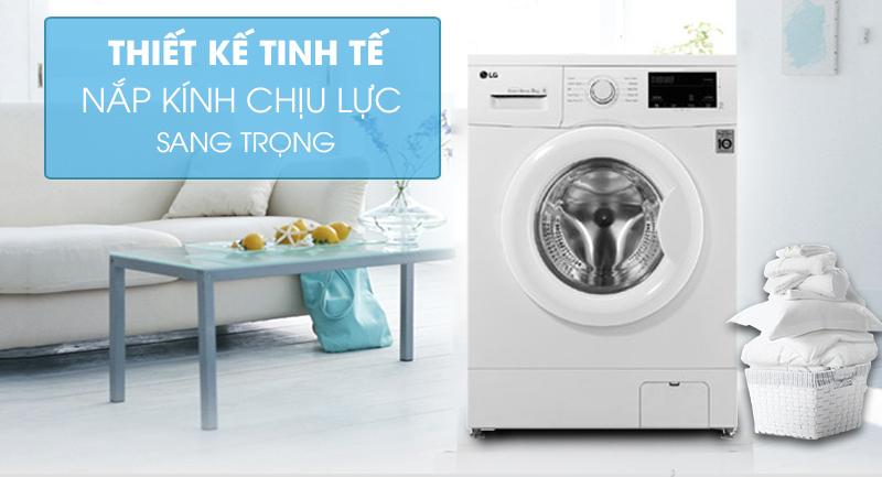 Máy giặt LG Inverter 8 kg FM1208N6W-Thiết kế tinh tế, nắp kính chịu lực sang trọng