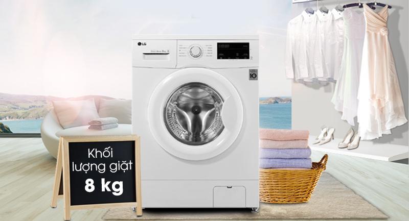 Máy giặt LG Inverter 8 kg FM1208N6W-Khối lượng giặt 8 kg, phù hợp gia đình 4 - 5 người
