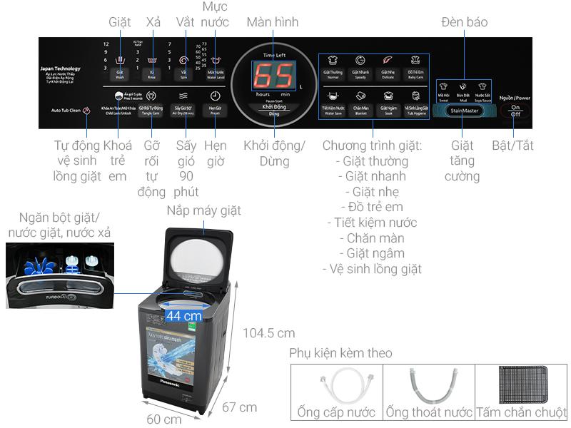 Thông số kỹ thuật Máy giặt Panasonic Inverter 10.5 Kg NA-FD10AR1BV