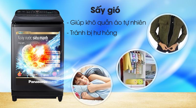 Máy giặt Panasonic Inverter 10.5 Kg NA-FD10AR1BV-Giúp quần áo khô tự nhiên, tránh bị hỏng với công nghệ sấy gió
