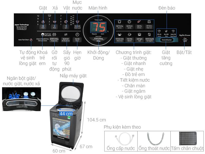 Thông số kỹ thuật Máy giặt Panasonic Inverter 11.5 Kg NA-FD11AR1BV