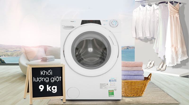 Máy giặt Candy Inverter 9 kg RO 1496DWHC7/1-S-Khối lượng giặt 9 kg, phù hợp cho gia đình trên 5 người