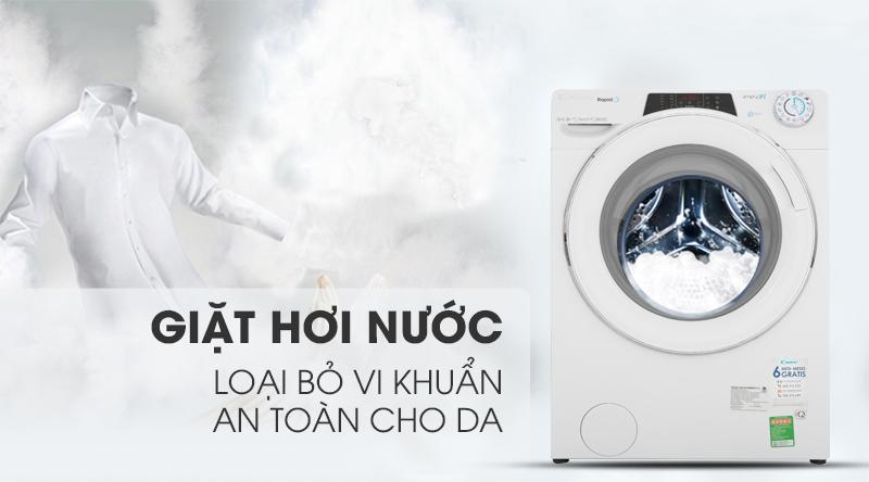 Máy giặt Candy Inverter 9 kg RO 1496DWHC7/1-S-Loại bỏ vi khuẩn, an toàn cho da bởi công nghệ giặt hơi nước