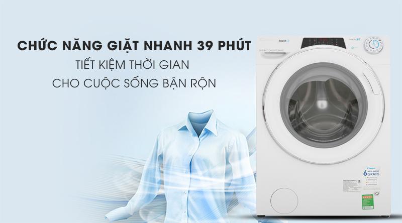 Máy giặt Candy Inverter 9 kg RO 1496DWHC7/1-S-Tiết kiệm thời gian cùng chức năng giặt nhanh 39 phút