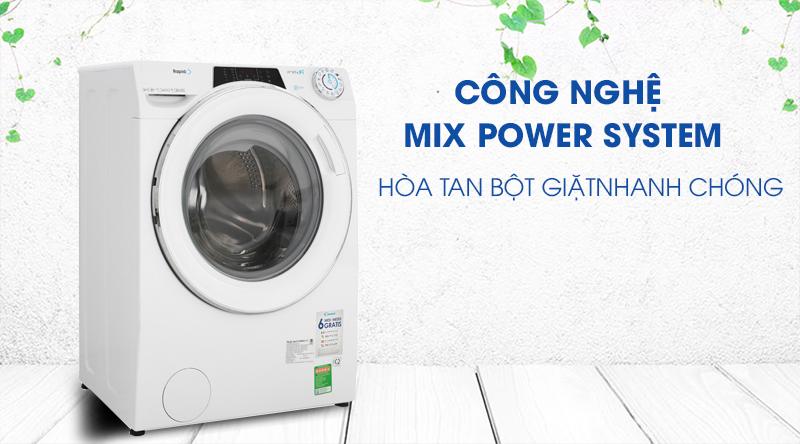 Máy giặt Candy Inverter 10 kg RO 16106DWHC7\1-S-Hòa tan bột giặt nhanh chóng cùng công nghệ Mix Power System