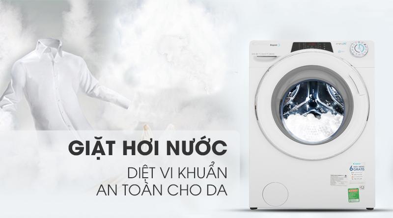 Máy giặt Candy Inverter 10 kg RO 16106DWHC7\1-S-Diệt khuẩn, an toàn cho da với công nghệ hơi nước