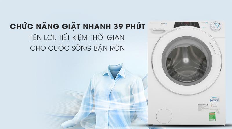Máy giặt Candy Inverter 10 kg RO 16106DWHC7\1-S-Tiện lợi với chức năng giặt nhanh 39 phút