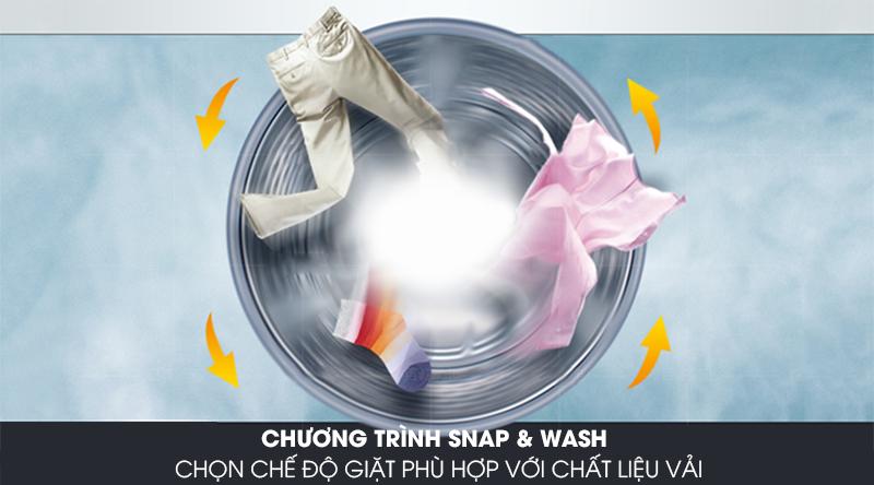 Máy giặt Candy Inverter 10 kg RO 16106DWHC7\1-S-Nâng cao hiệu quả giặt nhờ chương trình Snap & wash độc quyền