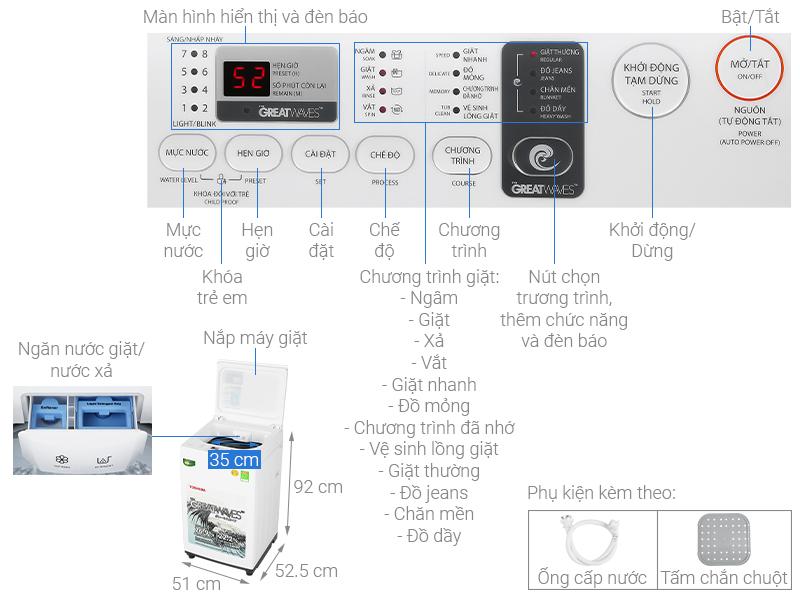 Thông số kỹ thuật Máy giặt Toshiba 7 kg AW-K800AV(WW)
