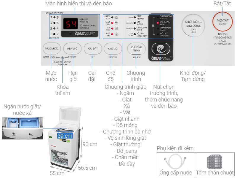 Thông số kỹ thuật Máy giặt Toshiba 8 kg AW-K900DV(WW)