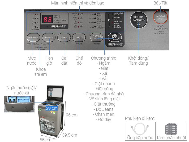 Thông số kỹ thuật Máy giặt Toshiba 8 kg AW-K905DV(SG)