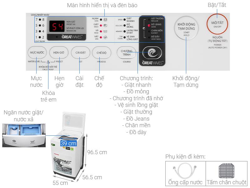 Thông số kỹ thuật Máy giặt Toshiba 9 kg AW-K1000FV(WW)
