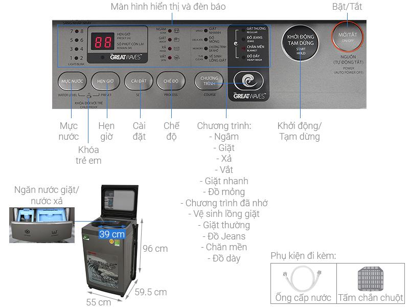 Thông số kỹ thuật Máy giặt Toshiba 9 kg AW-K1005FV(SG)