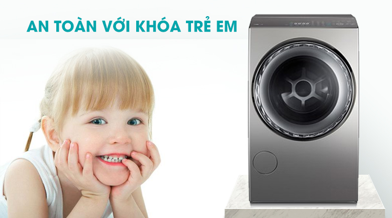 Khóa trẻ em - Máy giặt sấy Toshiba Inverter 12 Kg TWD-DUJ130X4V