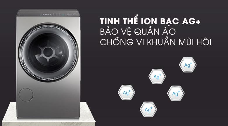 Tinh thể ion bạc Ag - Máy giặt sấy Toshiba Inverter 12 Kg TWD-DUJ130X4V