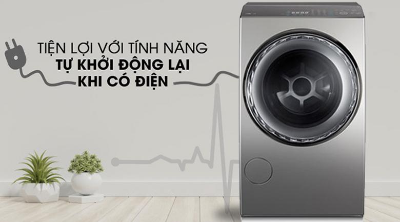 Tự khởi động lại khi có điện - Máy giặt sấy Toshiba Inverter 12 Kg TWD-DUJ130X4V