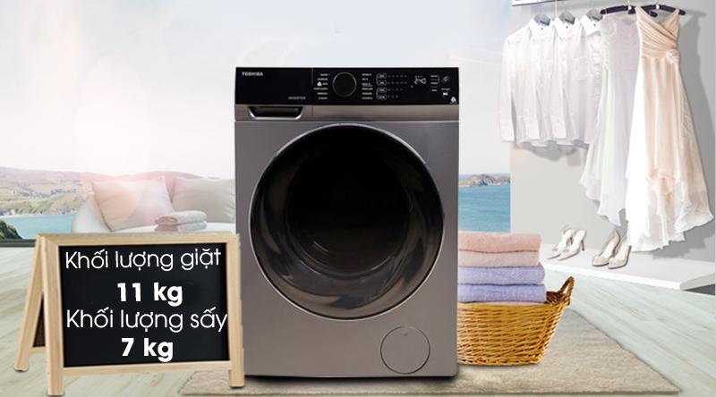 Máy giặt sấy Toshiba Inverter 11 Kg TWD-BJ120M4V(SK)-Khối lượng giặt 11 kg, sấy 7 kg, phù hợp cho hộ gia đình trên 6 người