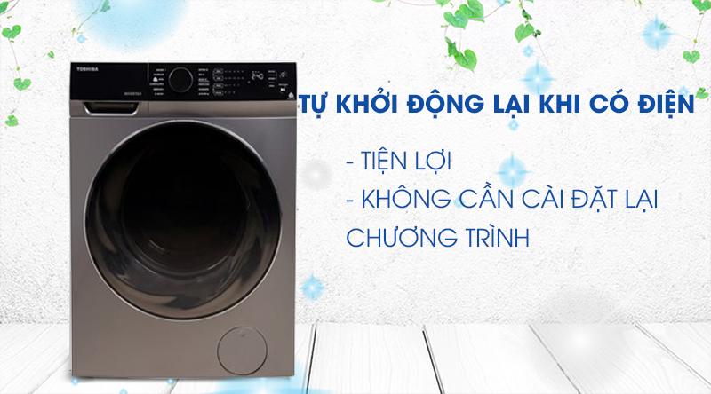 Máy giặt sấy Toshiba Inverter 11 Kg TWD-BJ120M4V(SK)-Tiện lợi với khả năng tự khởi động lại khi có điện