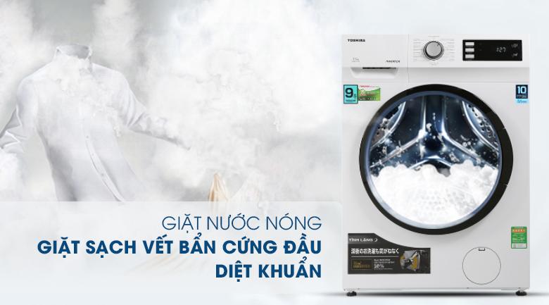 Máy giặt Toshiba Inverter 9.5 Kg TW-BK105S2V(WS) -Diệt khuẩn, tránh tác nhân gây dị ứng bởi công nghệ nước nóng