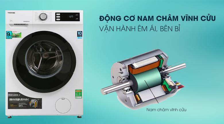 Máy giặt Toshiba Inverter 9.5 Kg TW-BK105S2V(WS)-Vận hành siêu êm với động cơ nam châm vĩnh cửu truyền động dây Curoa.