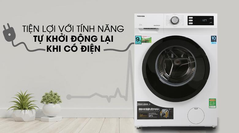 Máy giặt Toshiba Inverter 9.5 Kg TW-BK105S2V(WS)-Tiện lợi cùng chức năng tự khởi động lại khi có điện