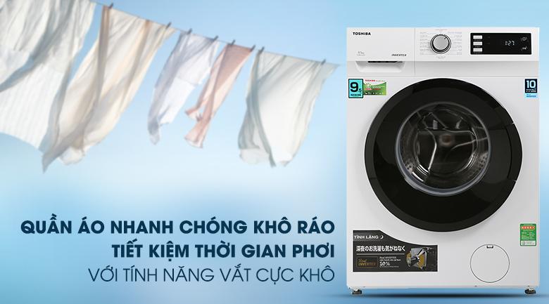 Máy giặt Toshiba Inverter 9.5 Kg TW-BK105S2V(WS)-Rút ngắn thời gian phơi khô quần áo nhờ chức năng vắt cực khô
