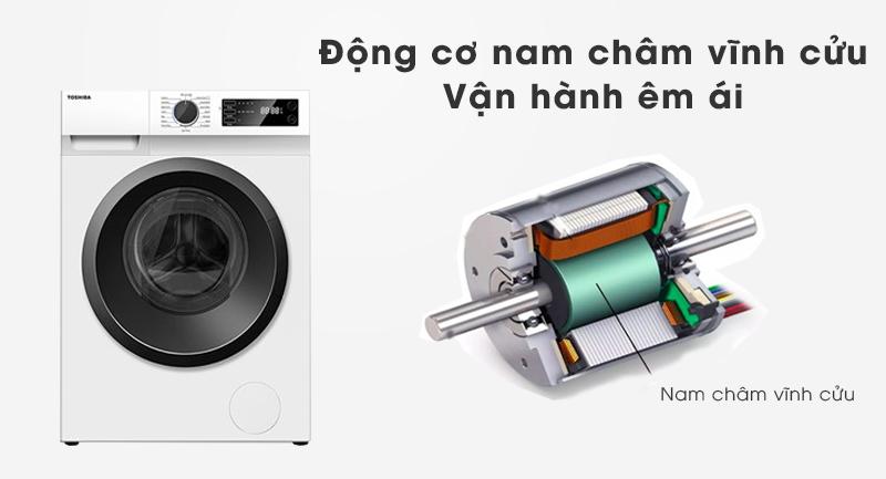 Máy giặt Toshiba Inverter 9.5 Kg TW-BK105S2V(WS)-Vận hành siêu êm với động cơ nam châm vĩnh cửu truyền động dây Curoa