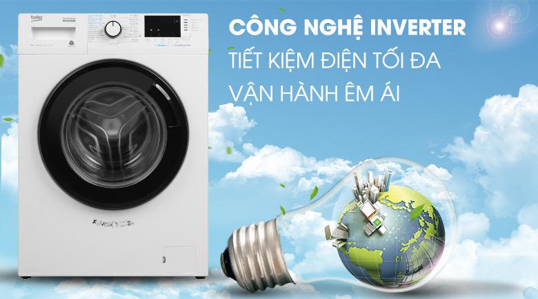 Máy giặt Beko Inverter 8 kg WCV8612XB0ST-Tiết kiệm điện, nước nhờ công nghệ Inverter
