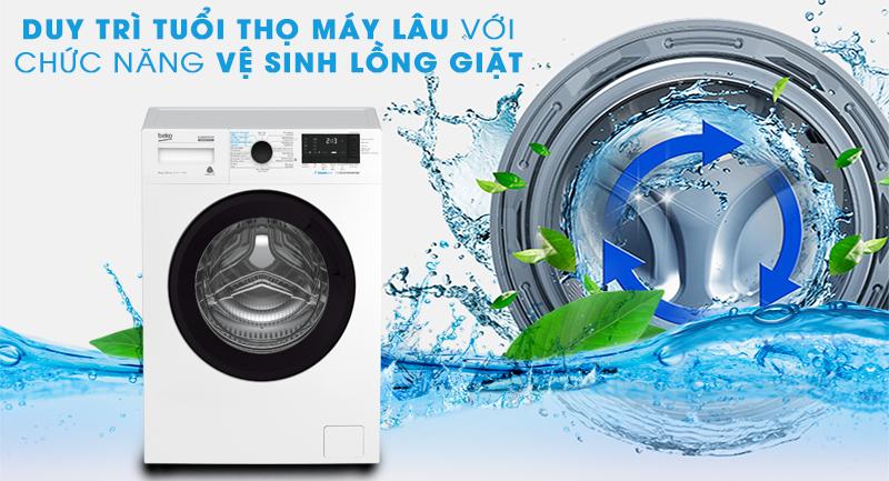 Máy giặt Beko Inverter 8 kg WCV8612XB0ST-Duy trì tuổi thọ máy nhờ chức năng tự vệ sinh lồng giặt