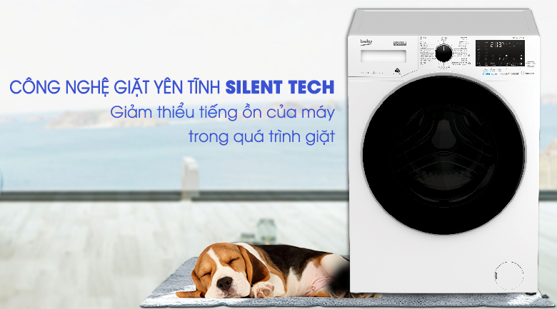 Silent Tech - Máy giặt Beko Inverter 8 kg WCV8649XWST
