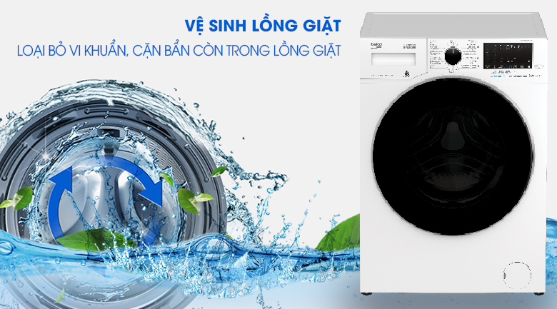 Vệ sinh lồng giặt - Máy giặt Beko Inverter 8 kg WCV8649XWST