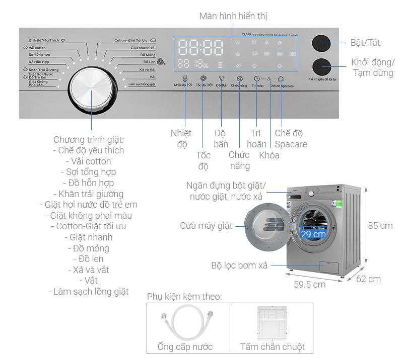 Thông số kỹ thuật Máy giặt Midea Inverter 9.5 Kg MFK95-1401SK