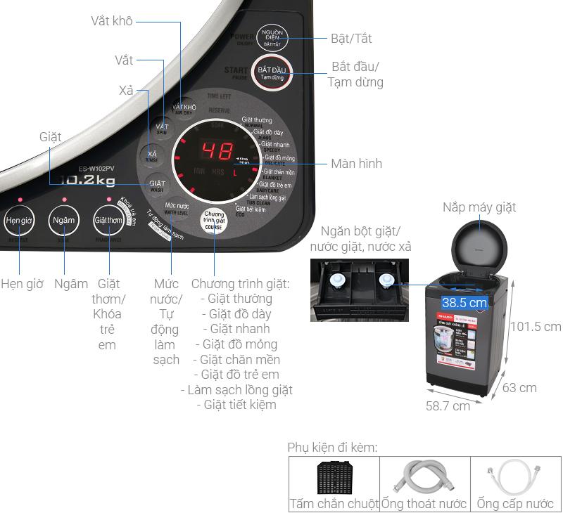 Thông số kỹ thuật Máy giặt Sharp 10.2 kg ES-W102PV-H