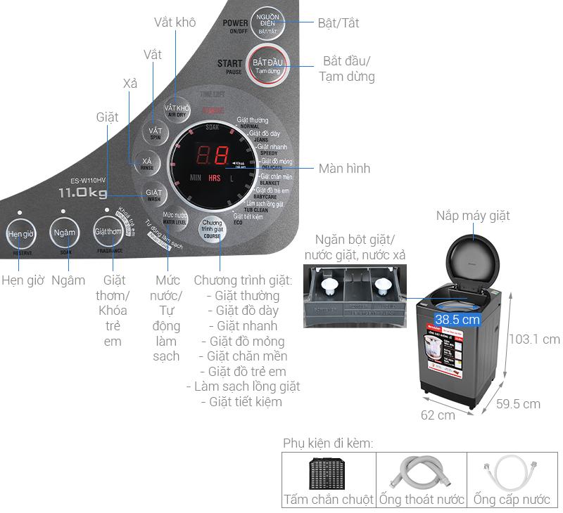 Thông số kỹ thuật Máy giặt Sharp 11 kg ES-W110HV-S