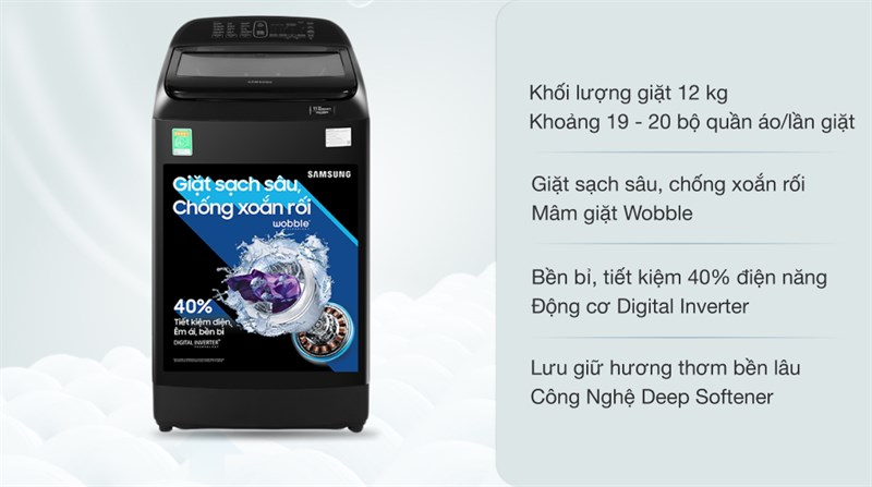 Máy giặt Samsung Inverter 12 kg WA12T5360BV/SV