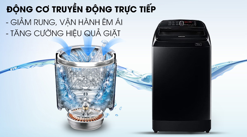 Máy giặt Samsung Inverter 12 kg WA12T5360BV/SV-Hoạt động êm ái với động cơ truyền động trực tiếp