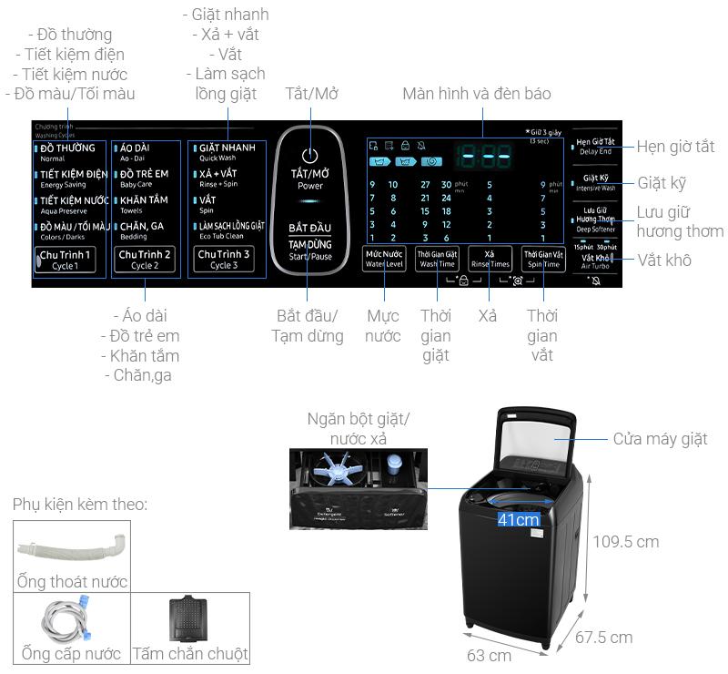 Thông số kỹ thuật Máy giặt Samsung Inverter 16 kg WA16R6380BV/SV