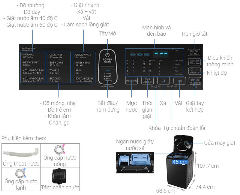 Thông số kỹ thuật Máy giặt Samsung Inverter 22 kg WA22R8870GV/SV
