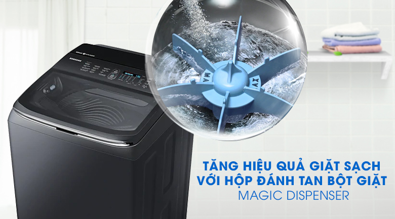 Magic Dispenser-Máy giặt Samsung Inverter 22 kg WA22R8870GV/SV