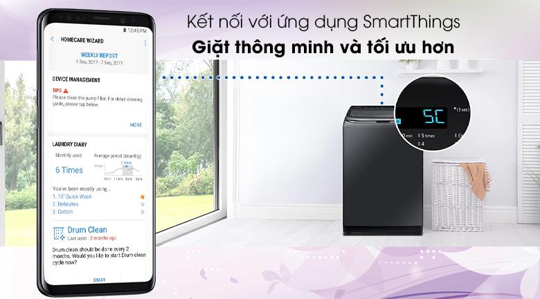 Tối ưu hơn khi được kết nối với điện thoại - Máy giặt Samsung Inverter 22 kg WA22R8870GV/SV