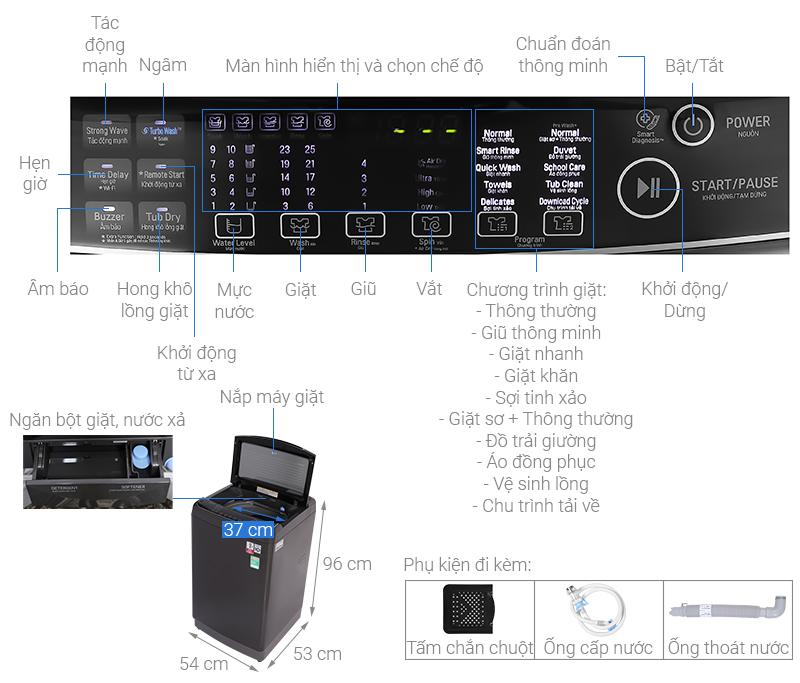 Thông số kỹ thuật Máy giặt LG Inverter 11 kg TH2111DSAB
