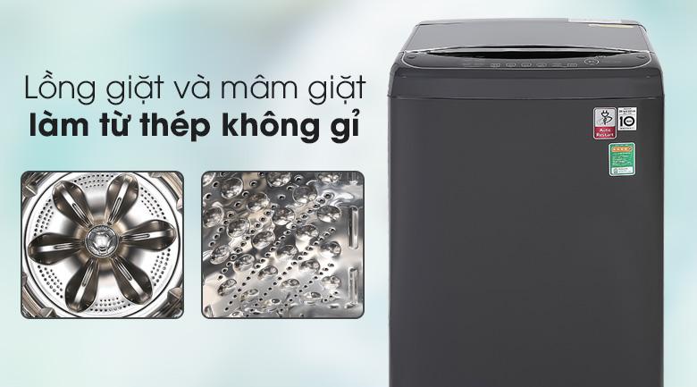 Máy giặt LG TH2111DSAB có mâm giặt và lồng giặt làm từ vật liệu thép không gỉ