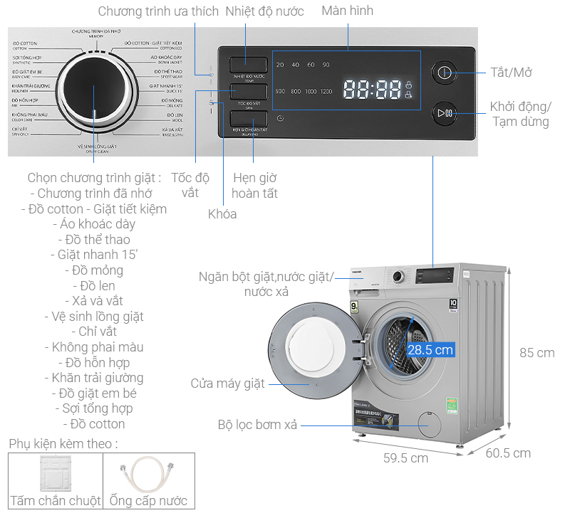 Thông số kỹ thuật Máy giặt Toshiba Inverter 9.5 Kg TW-BK105S3V(SK)