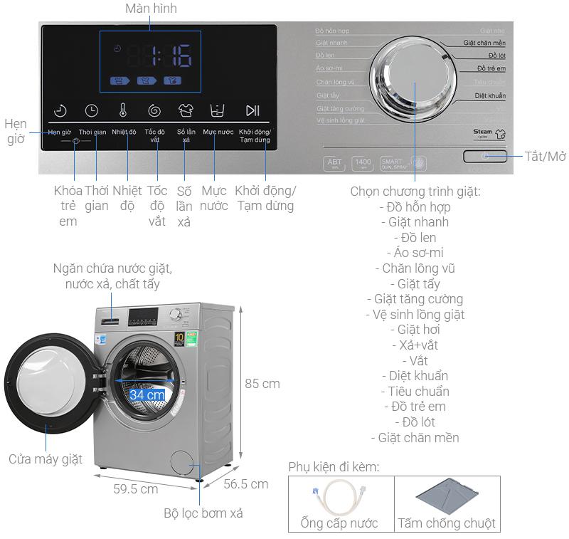 Thông số kỹ thuật Máy giặt Aqua Inverter 9 kg AQD-D900F S
