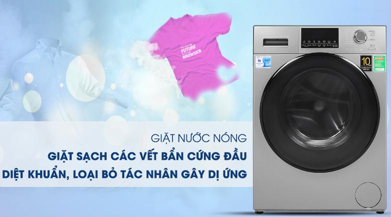 Giặt nước nóng-Máy giặt Aqua Inverter 9 kg AQD-D900F S
