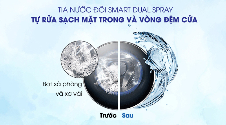 Smart Dual Spray-Máy giặt Aqua Inverter 9 kg AQD-D900F S