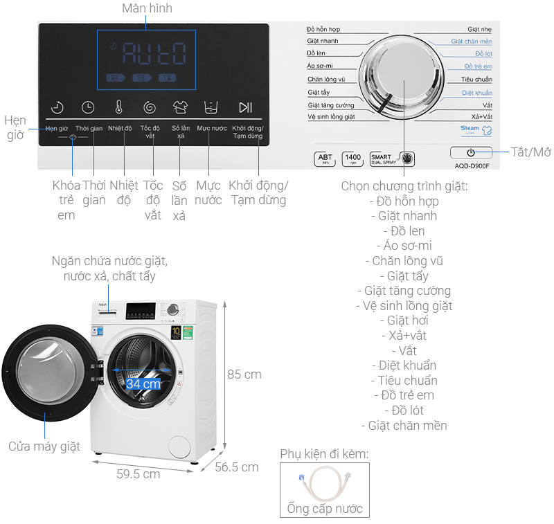 Thông số kỹ thuật Máy giặt Aqua Inverter 9 kg AQD-D900F W