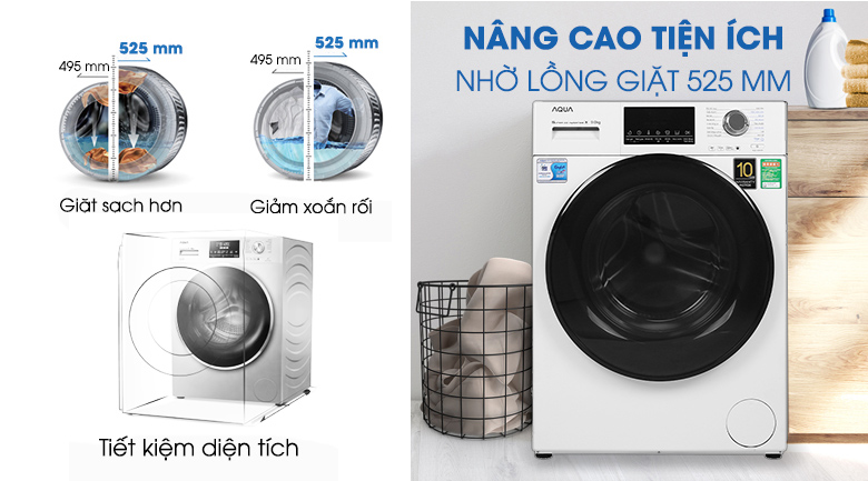 Máy giặt Aqua Inverter 9 kg AQD-D900F W - Lồng giặt 525 mm